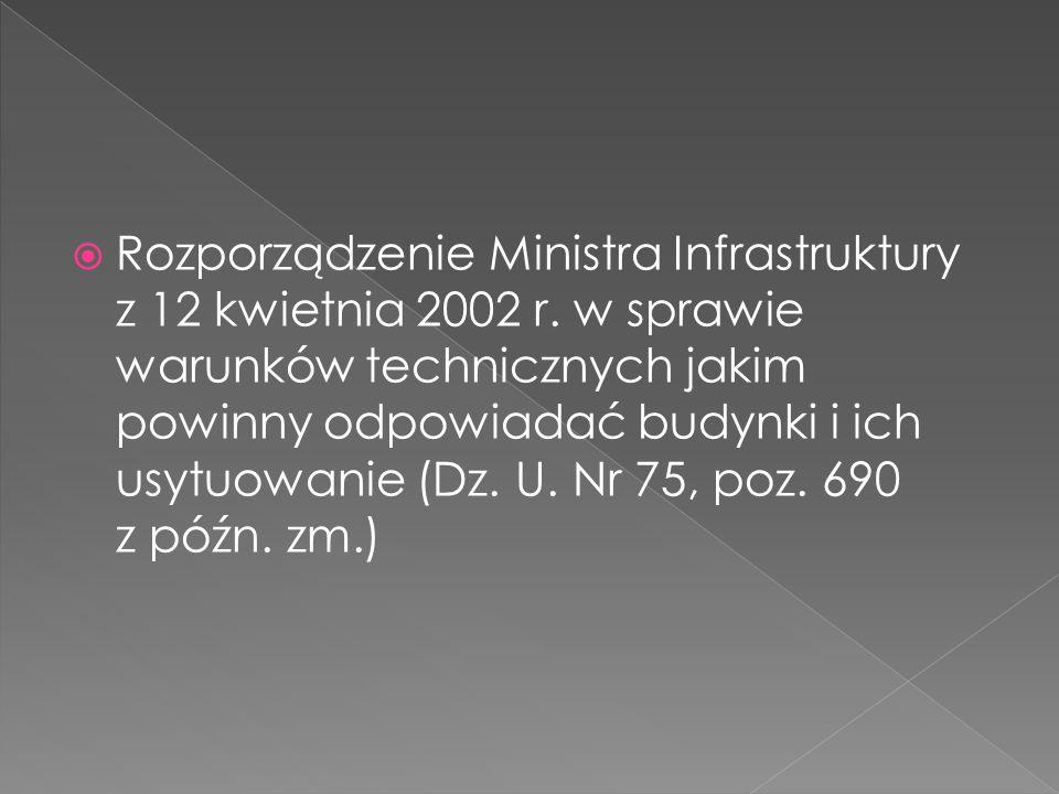  Rozporządzenie Ministra Infrastruktury z 12 kwietnia 2002 r. w sprawie warunków technicznych jakim powinny odpowiadać budynki i ich usytuowanie (Dz.