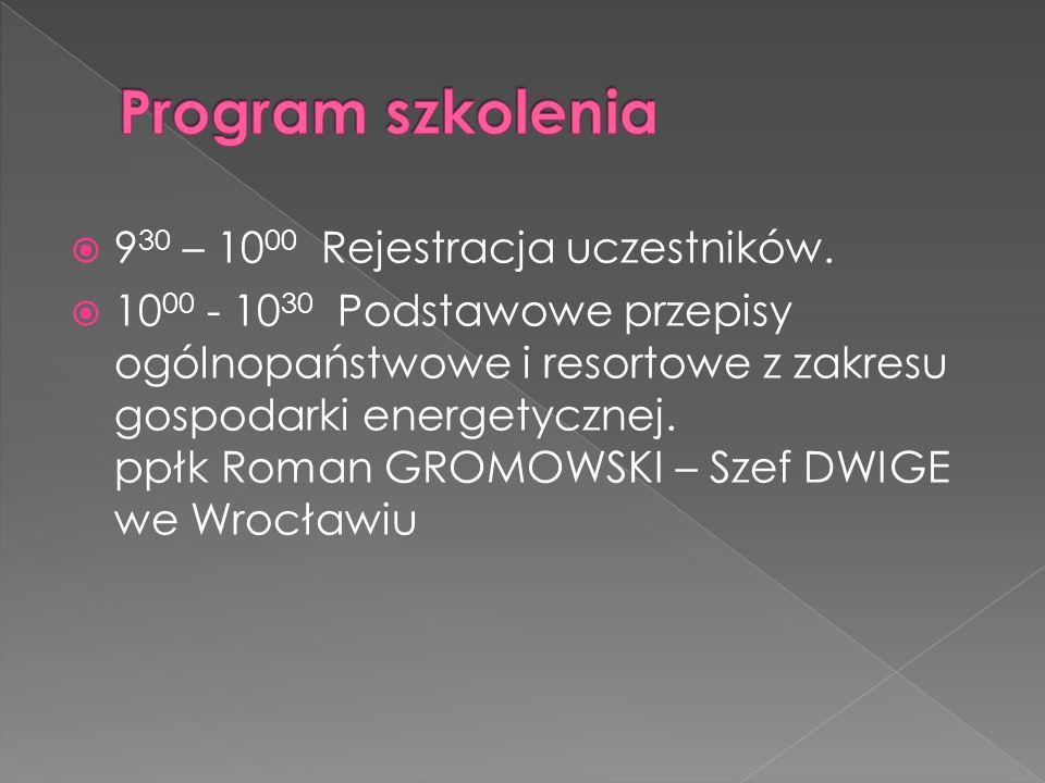  9 30 – 10 00 Rejestracja uczestników.  10 00 - 10 30 Podstawowe przepisy ogólnopaństwowe i resortowe z zakresu gospodarki energetycznej. ppłk Roman