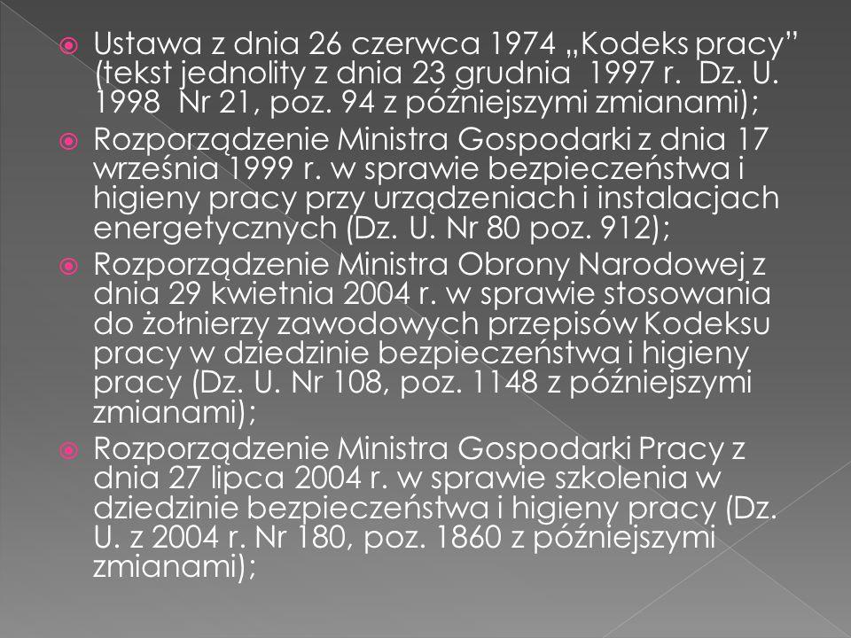 """ Ustawa z dnia 26 czerwca 1974 """"Kodeks pracy"""" (tekst jednolity z dnia 23 grudnia 1997 r. Dz. U. 1998 Nr 21, poz. 94 z późniejszymi zmianami);  Rozpo"""