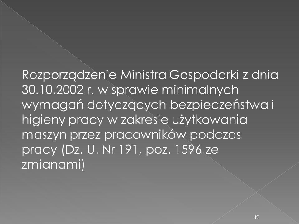 Rozporządzenie Ministra Gospodarki z dnia 30.10.2002 r. w sprawie minimalnych wymagań dotyczących bezpieczeństwa i higieny pracy w zakresie użytkowani