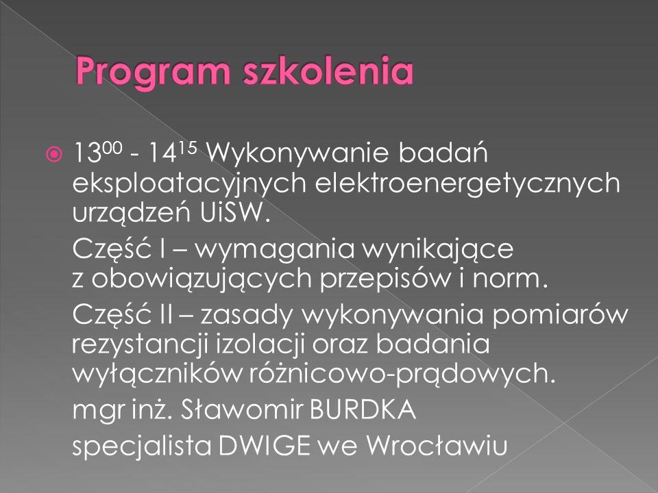  14 15 - 15 00 Zasady organizowania egzaminów, szkolenia osób, wypełniania wniosków o sprawdzenie kwalifikacji oraz zgłaszania potrzeb do WEKK.