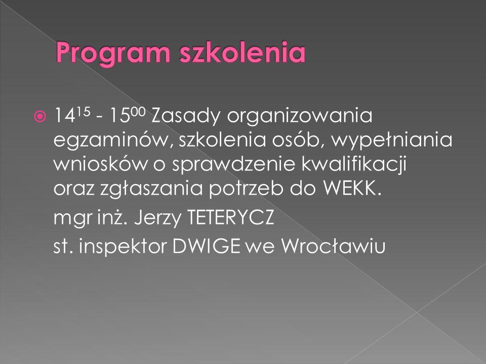  14 15 - 15 00 Zasady organizowania egzaminów, szkolenia osób, wypełniania wniosków o sprawdzenie kwalifikacji oraz zgłaszania potrzeb do WEKK. mgr i