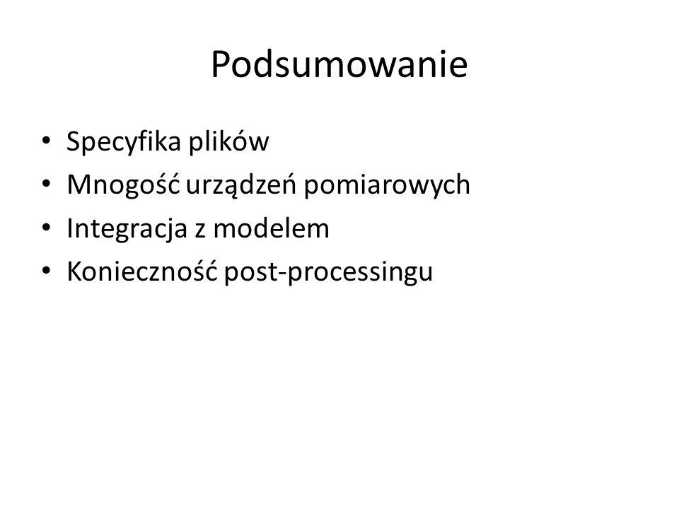 Podsumowanie Specyfika plików Mnogość urządzeń pomiarowych Integracja z modelem Konieczność post-processingu