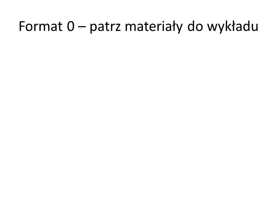 Format 0 – patrz materiały do wykładu