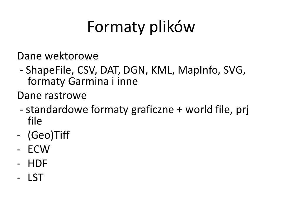 Formaty plików Dane wektorowe - ShapeFile, CSV, DAT, DGN, KML, MapInfo, SVG, formaty Garmina i inne Dane rastrowe - standardowe formaty graficzne + world file, prj file -(Geo)Tiff -ECW -HDF -LST