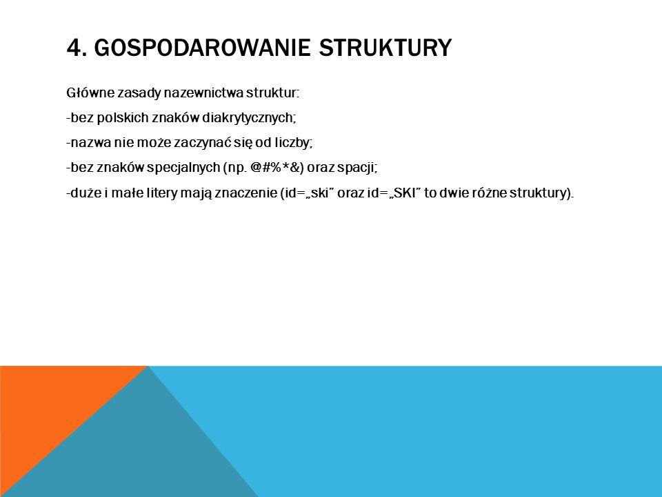 Główne zasady nazewnictwa struktur: -bez polskich znaków diakrytycznych; -nazwa nie może zaczynać się od liczby; -bez znaków specjalnych (np.