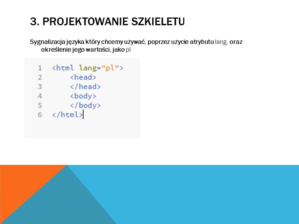 3. PROJEKTOWANIE SZKIELETU Sygnalizacja języka który chcemy używać, poprzez użycie atrybutu lang, oraz określenie jego wartości, jako pl