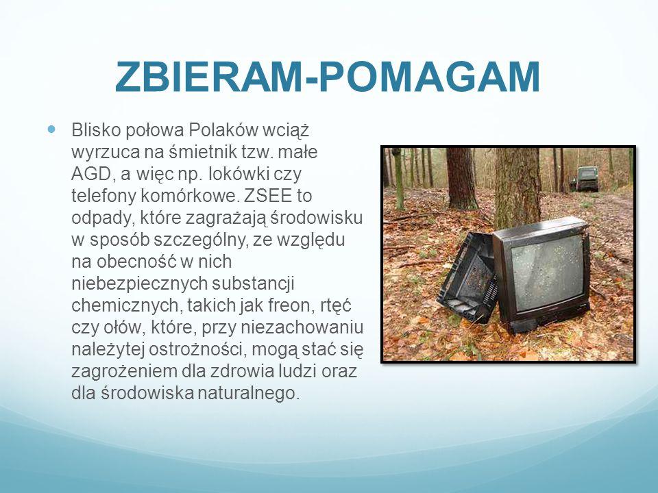 ZBIERAM-POMAGAM Blisko połowa Polaków wciąż wyrzuca na śmietnik tzw. małe AGD, a więc np. lokówki czy telefony komórkowe. ZSEE to odpady, które zagraż