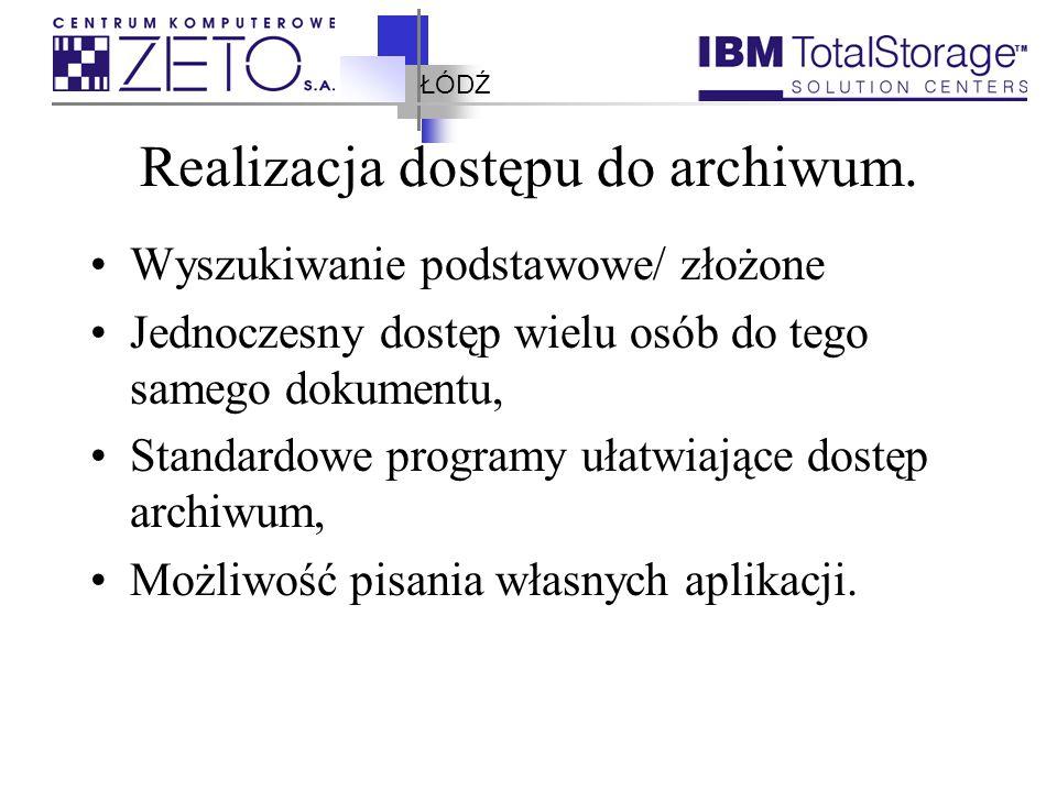 ŁÓDŹ Realizacja dostępu do archiwum. Wyszukiwanie podstawowe/ złożone Jednoczesny dostęp wielu osób do tego samego dokumentu, Standardowe programy uła