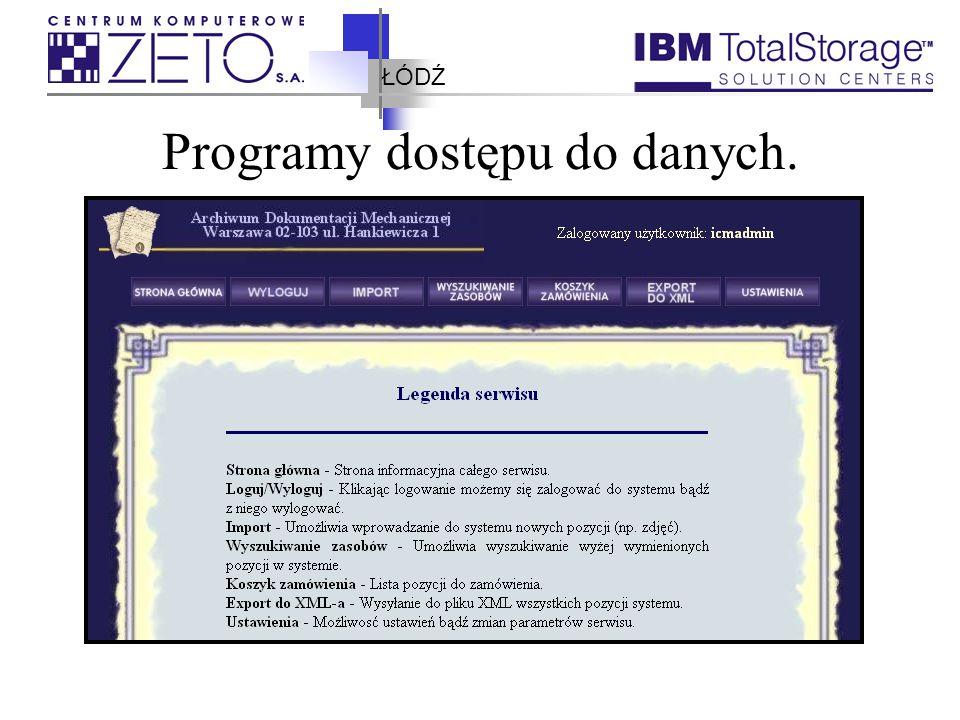 ŁÓDŹ Programy dostępu do danych. Client for Windows Dostęp z przeglądarki internetowej Możliwość pisania własnych aplikacji
