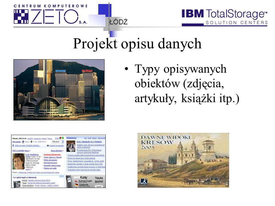 """ŁÓDŹ Projekt opisu danych Przykładowe atrybuty opisujące obiekt typu """"ZDJĘCIE : Nazwa zbioru, Data wykonania, autor, miejsce wykonania, Osoby na zdjęciach, …"""