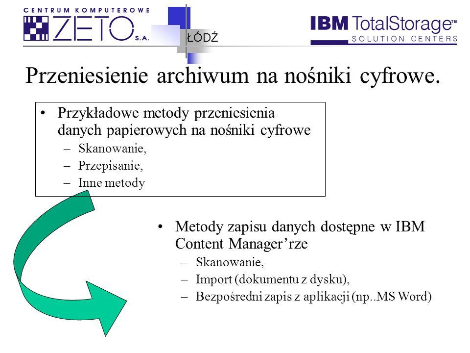 ŁÓDŹ Przeniesienie archiwum na nośniki cyfrowe. Przykładowe metody przeniesienia danych papierowych na nośniki cyfrowe –Skanowanie, –Przepisanie, –Inn