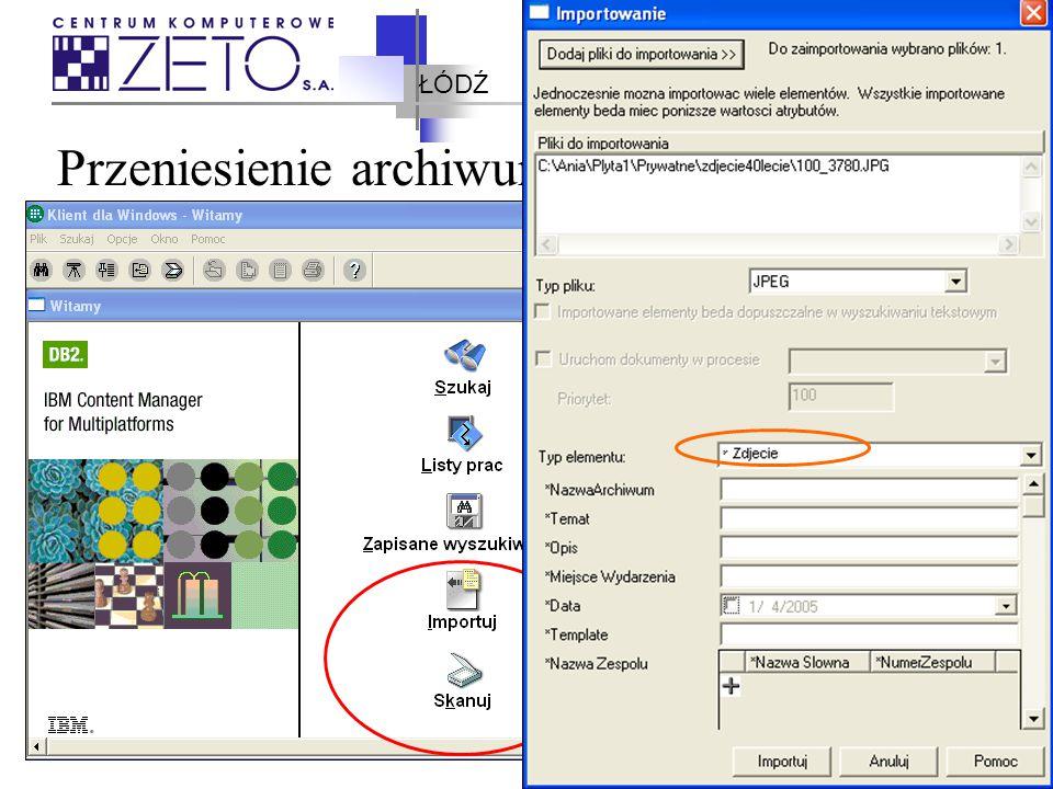 ŁÓDŹ IBM Content Manager – architektura Library Server Menadżer Zasobów Tivoli Storage Manager klient dla Windows/eClient/ inni klienci System Administration Client Dokumenty wejsciowe