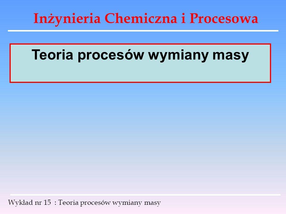Inżynieria Chemiczna i Procesowa Wykład nr 15 : Teoria procesów wymiany masy korzystając z tej samej metody można wyprowadzić równanie dla strumienia masowego: wektor natężenia strumienia masy [ mol / m 2 * s ] względem współrzędnych zewnętrznych składa się z dwóch członów : człon dyfuzyjny przemieszczanie się składnika na skutek przepływu mieszaniny Nakładanie się DYFUZJI na strumień przepływu mieszaniny.