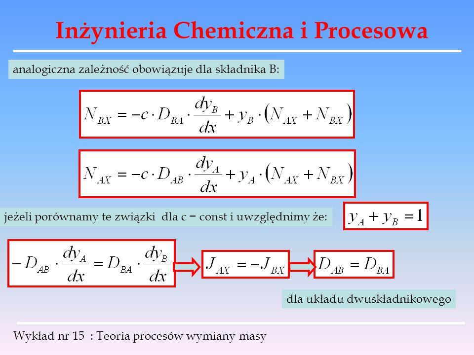 Inżynieria Chemiczna i Procesowa Wykład nr 15 : Teoria procesów wymiany masy analogiczna zależność obowiązuje dla składnika B: jeżeli porównamy te zwi