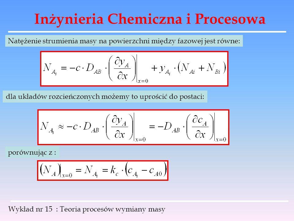 Inżynieria Chemiczna i Procesowa Wykład nr 15 : Teoria procesów wymiany masy Natężenie strumienia masy na powierzchni między fazowej jest równe: dla u