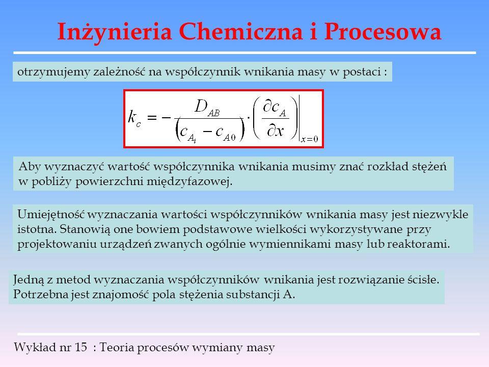 Inżynieria Chemiczna i Procesowa Wykład nr 15 : Teoria procesów wymiany masy otrzymujemy zależność na współczynnik wnikania masy w postaci : Aby wyzna
