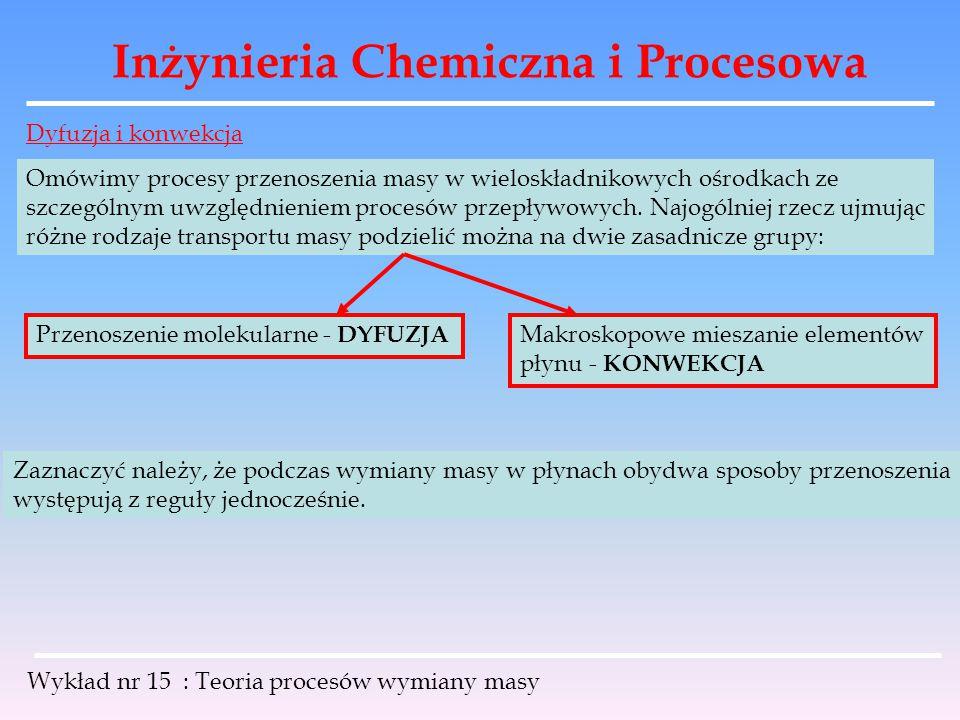 Inżynieria Chemiczna i Procesowa Wykład nr 15 : Teoria procesów wymiany masy DYFUZJA Jeżeli w różnych punktach płynu składającego się z dwóch składników A i B, pozostającego w spoczynku lub poruszającego się ruchem laminarnym będą różne stężenia obu składników to wówczas wystąpi spontaniczny ruch cząstek z miejsc o stężeniu wyższym do miejsc o stężeniu niższym.