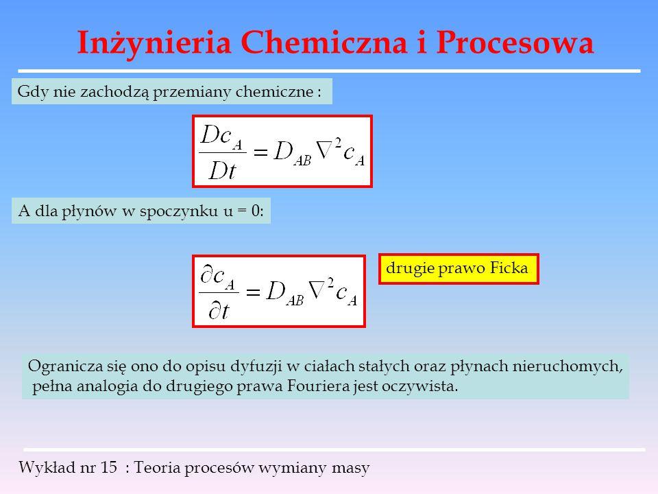 Inżynieria Chemiczna i Procesowa Wykład nr 15 : Teoria procesów wymiany masy Gdy nie zachodzą przemiany chemiczne : A dla płynów w spoczynku u = 0: dr
