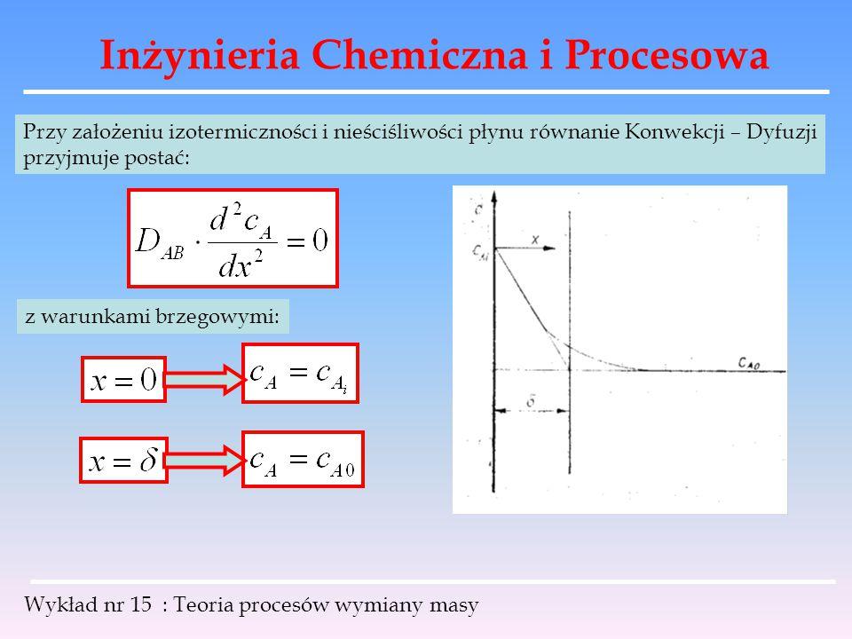 Inżynieria Chemiczna i Procesowa Wykład nr 15 : Teoria procesów wymiany masy Przy założeniu izotermiczności i nieściśliwości płynu równanie Konwekcji