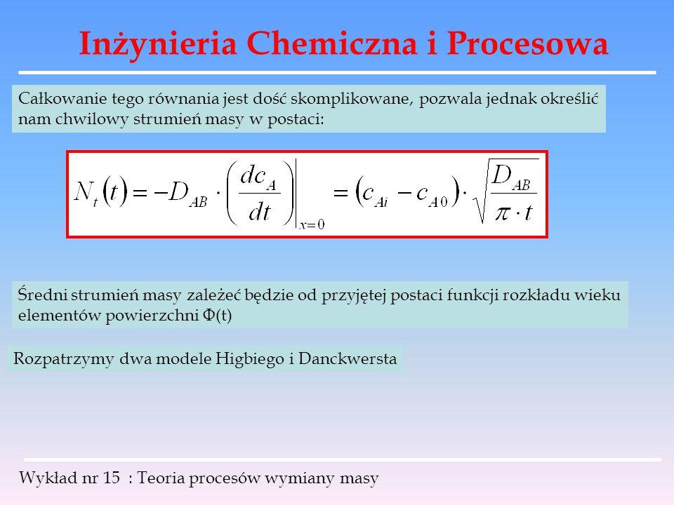 Inżynieria Chemiczna i Procesowa Wykład nr 15 : Teoria procesów wymiany masy Całkowanie tego równania jest dość skomplikowane, pozwala jednak określić