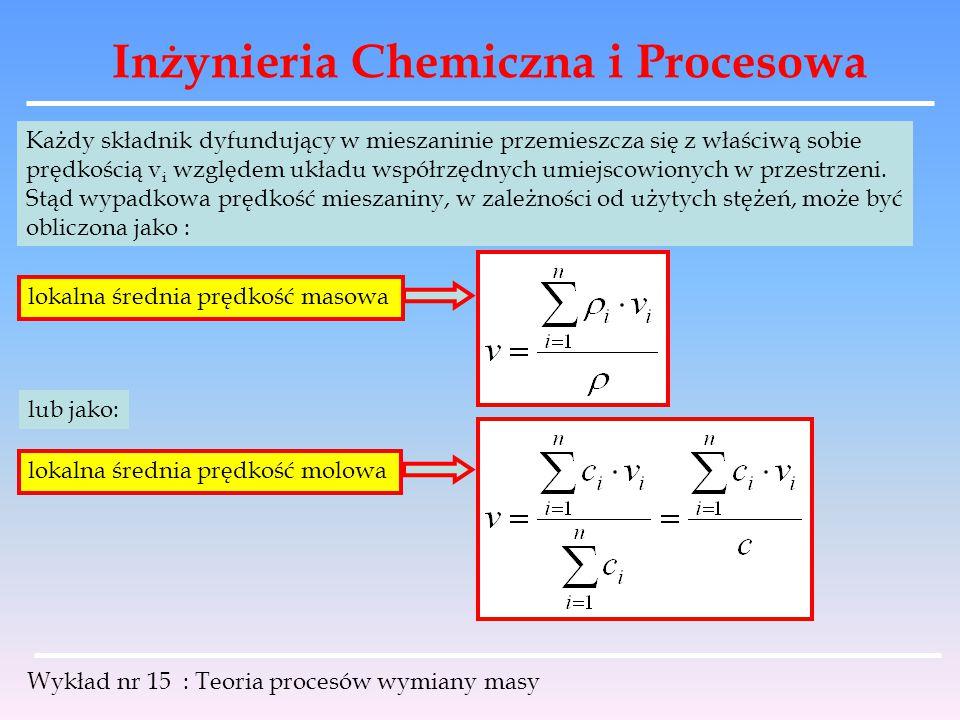 Inżynieria Chemiczna i Procesowa Wykład nr 15 : Teoria procesów wymiany masy Rozpatrując dyfuzję składnika w strumieniu płynu opieramy się na doświadczalnym prawie FICKA, które dla warunków izotermicznych i izobarycznych wyrażone jest wzorem: lub dla dowolnych warunków: molowa gęstość strumienia w kierunku x [ mol / m 2 * s ] współczynnik dyfuzji [ m 2 / s ] prawo FICKA