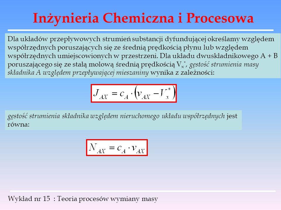 Inżynieria Chemiczna i Procesowa Wykład nr 15 : Teoria procesów wymiany masy Strumienie J A i N A są ze sobą powiązane: dla układu dwuskładnikowego: mnożąc obie strony przez c A