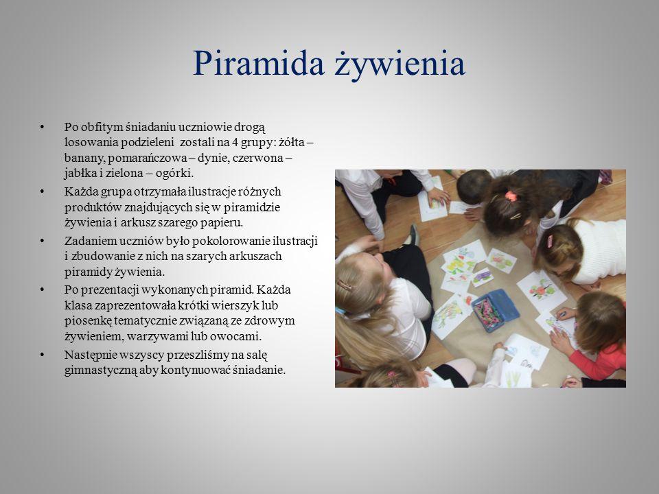Piramida żywienia Po obfitym śniadaniu uczniowie drogą losowania podzieleni zostali na 4 grupy: żółta – banany, pomarańczowa – dynie, czerwona – jabłka i zielona – ogórki.