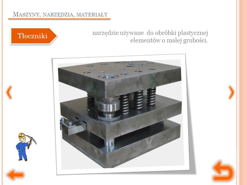 M ASZYNY, NARZĘDZIA, MATERIAŁY narzędzie używane do obróbki plastycznej elementów o małej grubości.