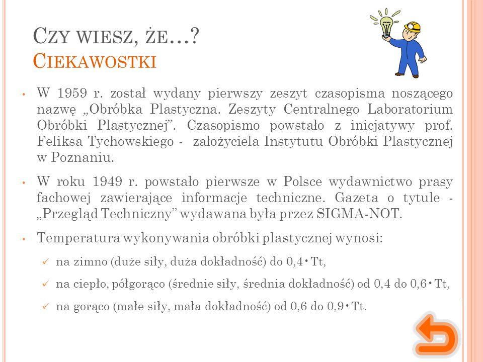 C ZY WIESZ, ŻE ….C IEKAWOSTKI W 1959 r.
