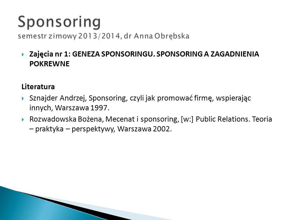  Zajęcia nr 1: GENEZA SPONSORINGU. SPONSORING A ZAGADNIENIA POKREWNE Literatura  Sznajder Andrzej, Sponsoring, czyli jak promować firmę, wspierając