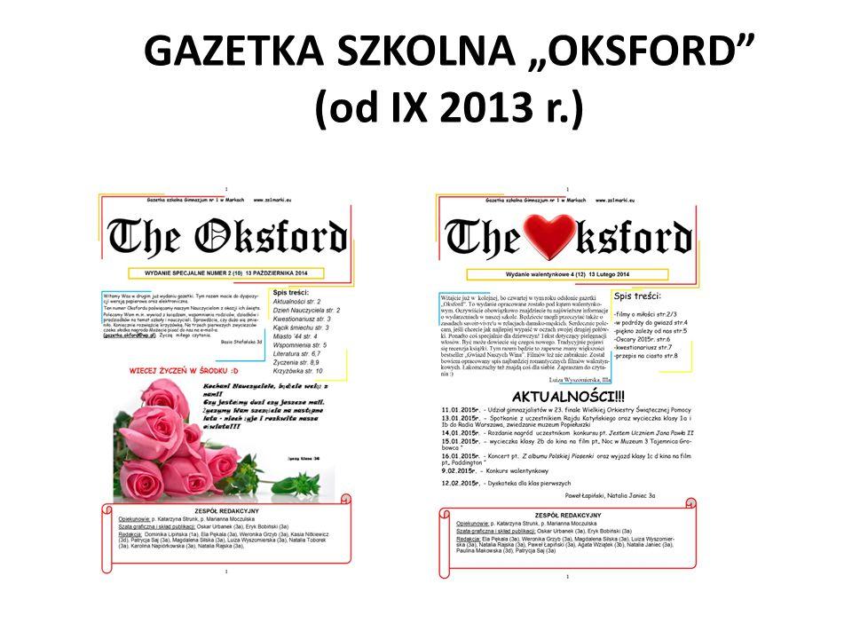 """GAZETKA SZKOLNA """"OKSFORD (od IX 2013 r.)"""