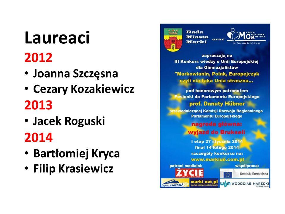 Laureaci 2012 Joanna Szczęsna Cezary Kozakiewicz 2013 Jacek Roguski 2014 Bartłomiej Kryca Filip Krasiewicz