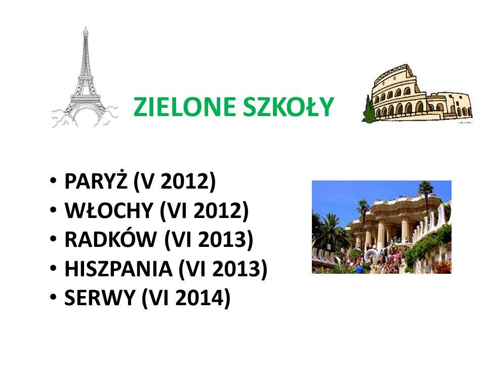 ZIELONE SZKOŁY PARYŻ (V 2012) WŁOCHY (VI 2012) RADKÓW (VI 2013) HISZPANIA (VI 2013) SERWY (VI 2014)