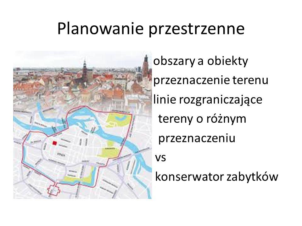 Planowanie przestrzenne - obszary a obiekty - przeznaczenie terenu - linie rozgraniczające tereny o różnym przeznaczeniu vs konserwator zabytków