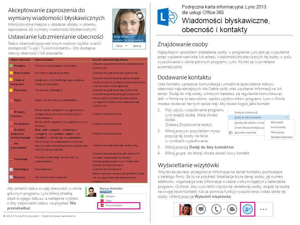 © 2012 Microsoft Corporation.Wszelkie prawa zastrzeżone.