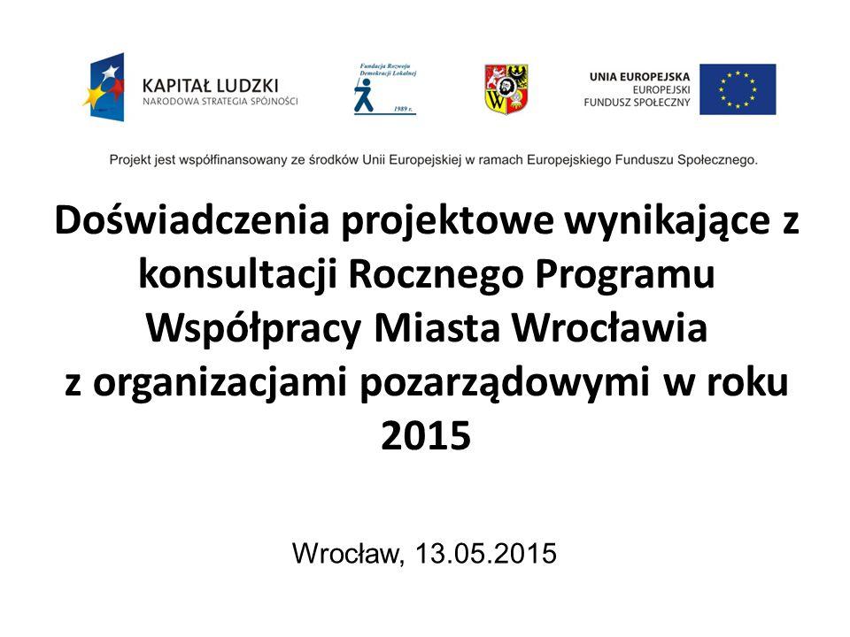 Doświadczenia projektowe wynikające z konsultacji Rocznego Programu Współpracy Miasta Wrocławia z organizacjami pozarządowymi w roku 2015 Wrocław, 13.