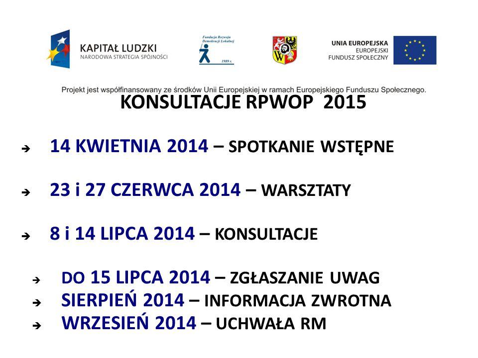 KONSULTACJE RPWOP 2015  14 KWIETNIA 2014 – SPOTKANIE WSTĘPNE  23 i 27 CZERWCA 2014 – WARSZTATY  8 i 14 LIPCA 2014 – KONSULTACJE  DO 15 LIPCA 2014