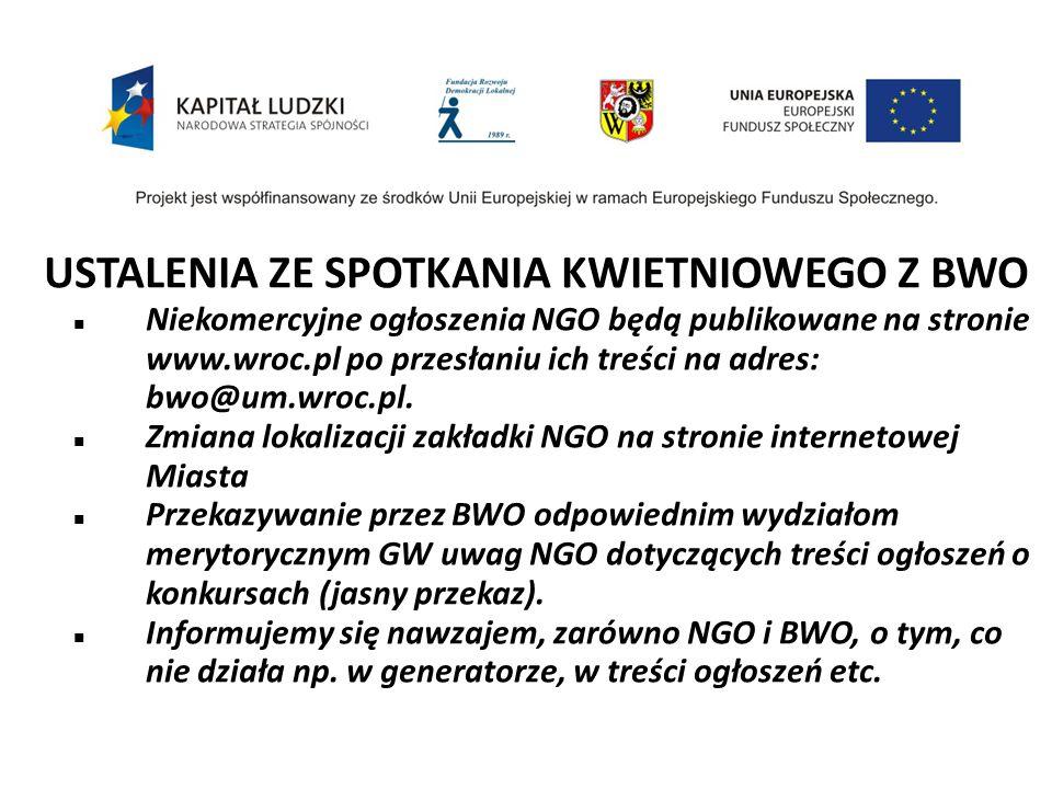 USTALENIA ZE SPOTKANIA KWIETNIOWEGO Z BWO Niekomercyjne ogłoszenia NGO będą publikowane na stronie www.wroc.pl po przesłaniu ich treści na adres: bwo@um.wroc.pl.