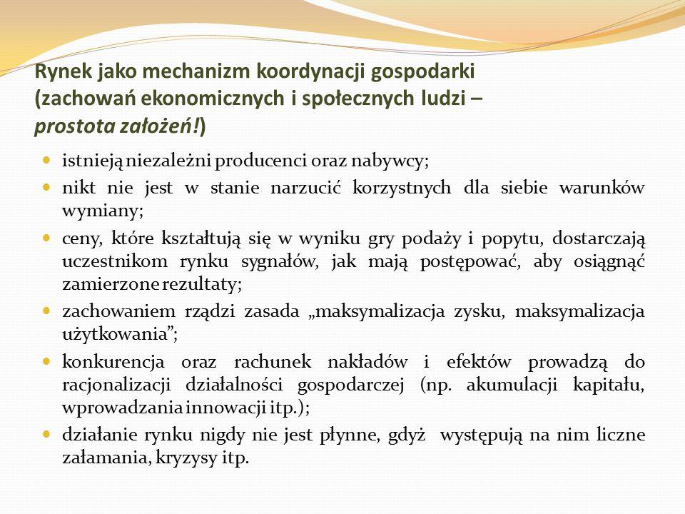 Rynek jako mechanizm koordynacji gospodarki (zachowań ekonomicznych i społecznych ludzi – prostota założeń!) istnieją niezależni producenci oraz nabyw