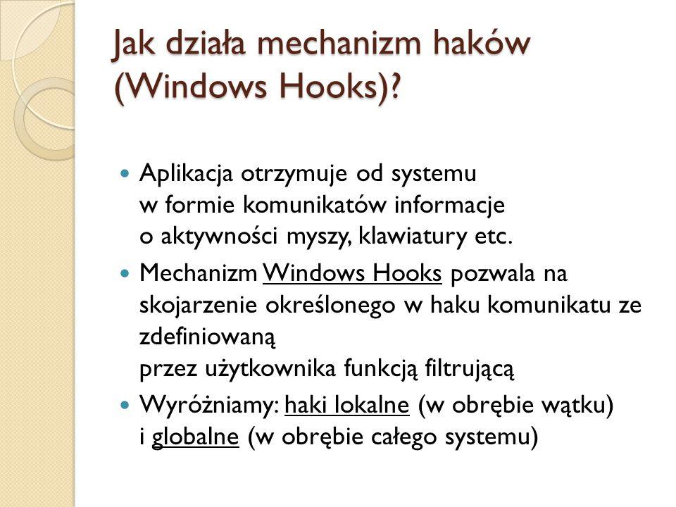 Jak działa mechanizm haków (Windows Hooks)? Aplikacja otrzymuje od systemu w formie komunikatów informacje o aktywności myszy, klawiatury etc. Mechani
