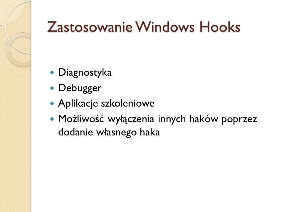 Zastosowanie Windows Hooks Diagnostyka Debugger Aplikacje szkoleniowe Możliwość wyłączenia innych haków poprzez dodanie własnego haka