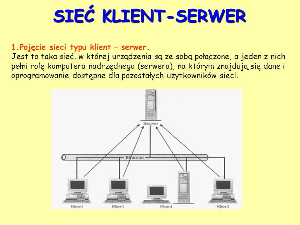 SIEĆ KLIENT-SERWER 1.Pojęcie sieci typu klient – serwer. Jest to taka sieć, w której urządzenia są ze sobą połączone, a jeden z nich pełni rolę komput