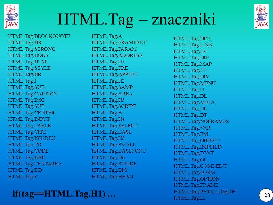 23 HTML.Tag – znaczniki HTML.Tag.A HTML.Tag.FRAMESET HTML.Tag.PARAM HTML.Tag.ADDRESS HTML.Tag.H1 HTML.Tag.PRE HTML.Tag.APPLET HTML.Tag.H2 HTML.Tag.SAMP HTML.Tag.AREA HTML.Tag.H3 HTML.Tag.SCRIPT HTML.Tag.B HTML.Tag.H4 HTML.Tag.SELECT HTML.Tag.BASE HTML.Tag.H5 HTML.Tag.SMALL HTML.Tag.BASEFONT HTML.Tag.H6 HTML.Tag.STRIKE HTML.Tag.BIG HTML.Tag.HEAD HTML.Tag.DFN HTML.Tag.LINK HTML.Tag.TR HTML.Tag.DIR HTML.Tag.MAP HTML.Tag.TT HTML.Tag.DIV HTML.Tag.MENU HTML.Tag.U HTML.Tag.DL HTML.Tag.META HTML.Tag.UL HTML.Tag.DT HTML.Tag.NOFRAMES HTML.Tag.VAR HTML.Tag.EM HTML.Tag.OBJECT HTML.Tag.IMPLIED HTML.Tag.FONT HTML.Tag.OL HTML.Tag.COMMENT HTML.Tag.FORM HTML.Tag.OPTION HTML.Tag.FRAME HTML.Tag.PHTML.Tag.TH HTML.Tag.LI HTML.Tag.BLOCKQUOTE HTML.Tag.HR HTML.Tag.STRONG HTML.Tag.BODY HTML.Tag.HTML HTML.Tag.STYLE HTML.Tag.BR HTML.Tag.I HTML.Tag.SUB HTML.Tag.CAPTION HTML.Tag.IMG HTML.Tag.SUP HTML.Tag.CENTER HTML.Tag.INPUT HTML.Tag.TABLE HTML.Tag.CITE HTML.Tag.ISINDEX HTML.Tag.TD HTML.Tag.CODE HTML.Tag.KBD HTML.Tag.TEXTAREA HTML.Tag.DD HTML.Tag.S if(tag==HTML.Tag.H1) …
