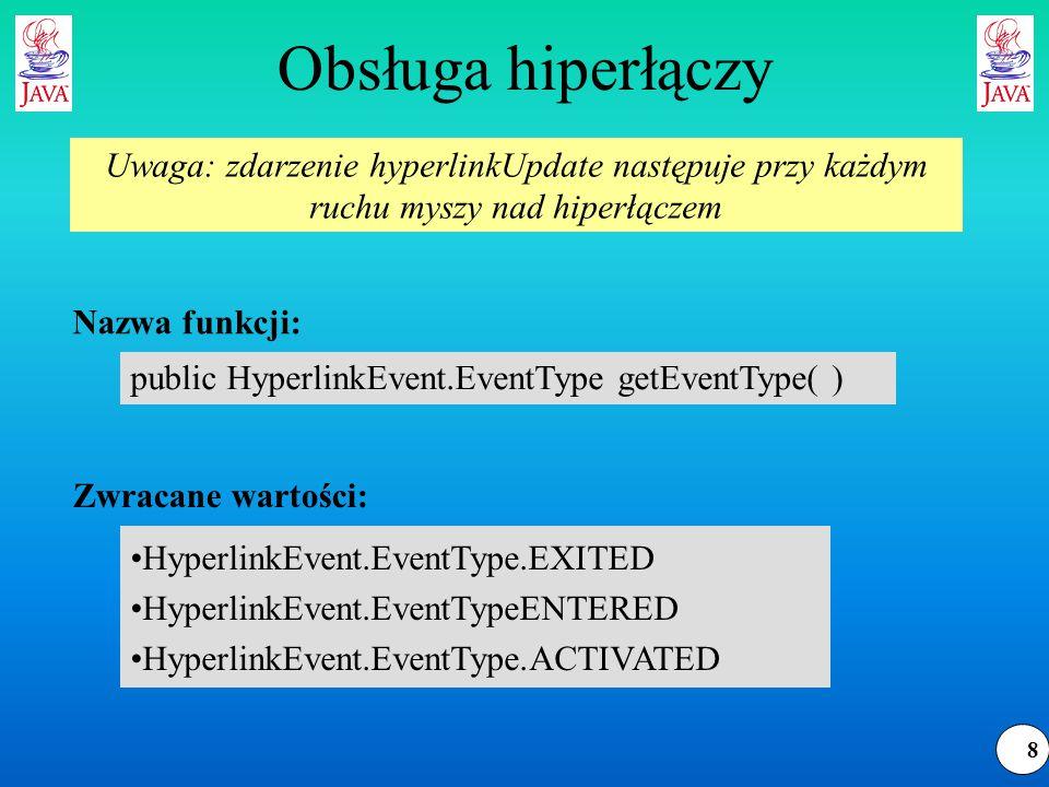 29 HTML.Tag – atrybuty zmienne public void handleSimpleTag(HTML.Tag tag, MutableAttributeSet attributes, int position) { try { out.write( < + tag); this.writeAttributes(attributes); out.write( > ); } catch (IOException e) { System.err.println(e); } Przetwarzanie pojedynczego znacznika