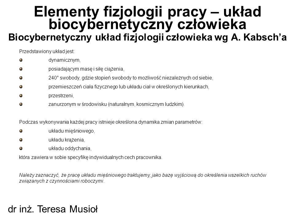 Biocybernetyczny układ fizjologii człowieka wg A. Kabsch'a Elementy fizjologii pracy – układ biocybernetyczny człowieka dr inż. Teresa Musioł Przedsta