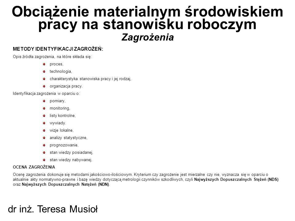 Zagrożenia Obciążenie materialnym środowiskiem pracy na stanowisku roboczym dr inż. Teresa Musioł METODY IDENTYFIKACJI ZAGROŻEŃ: Opis źródła zagrożeni