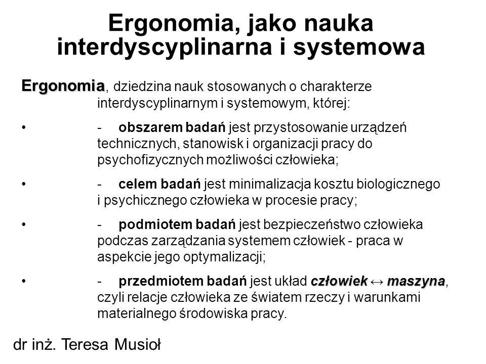 Ergonomia, jako nauka interdyscyplinarna i systemowa dr inż. Teresa Musioł Ergonomia Ergonomia, dziedzina nauk stosowanych o charakterze interdyscypli