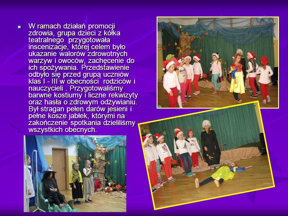 W ramach działań promocji zdrowia, grupa dzieci z kółka teatralnego przygotowała inscenizacje, której celem było ukazanie walorów zdrowotnych warzyw i