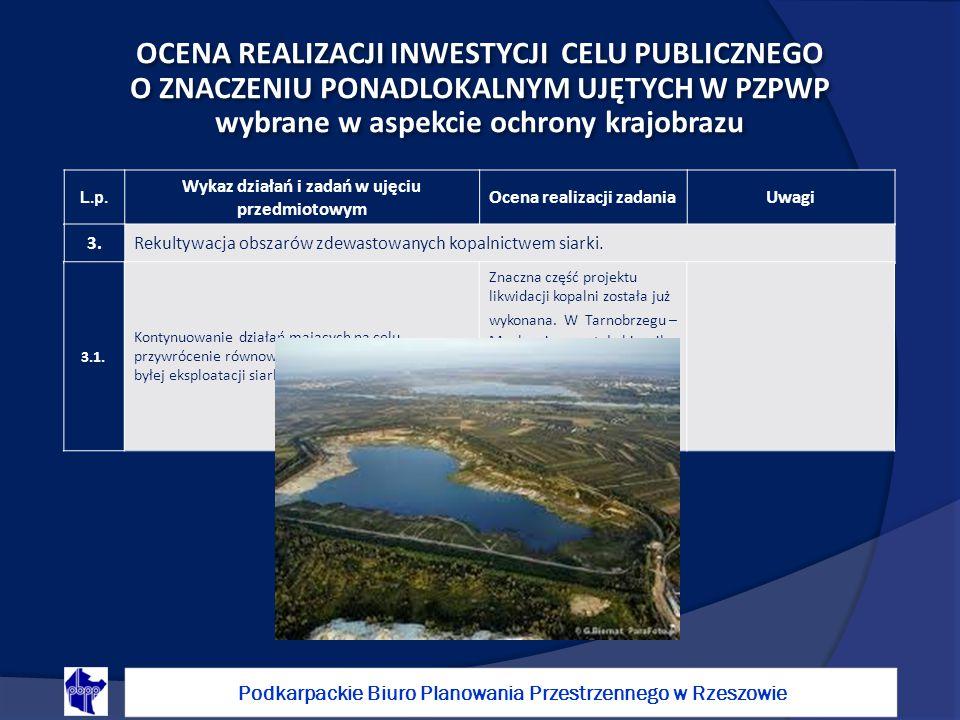 OCENA REALIZACJI INWESTYCJI CELU PUBLICZNEGO O ZNACZENIU PONADLOKALNYM UJĘTYCH W PZPWP wybrane w aspekcie ochrony krajobrazu Podkarpackie Biuro Planowania Przestrzennego w Rzeszowie L.p.